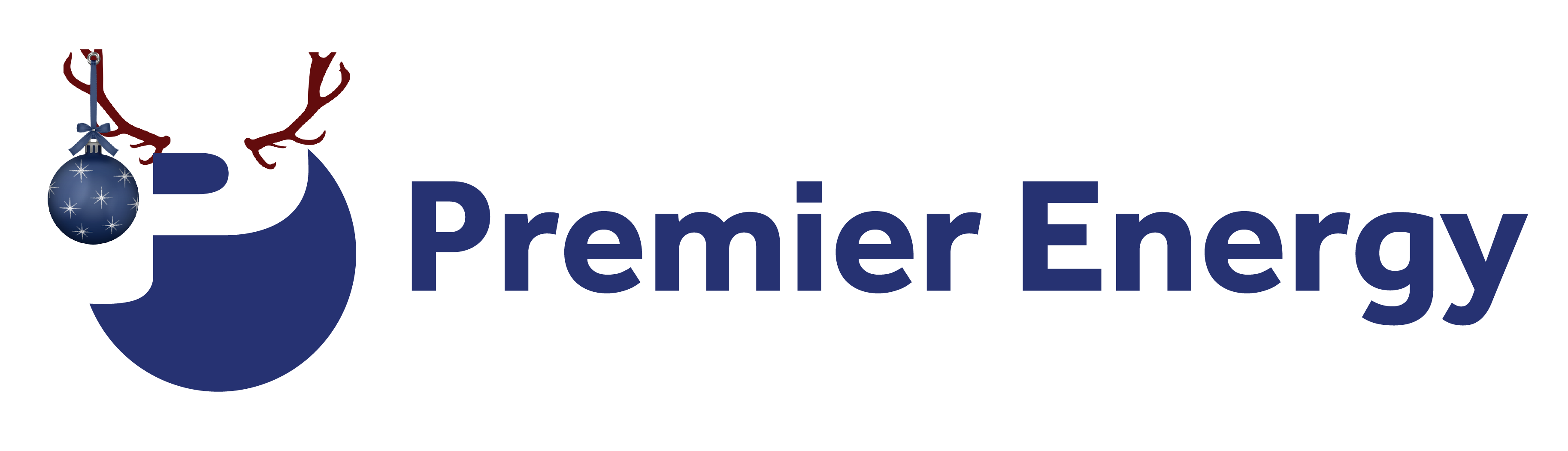 Premier Energy Christmas Logo with antlers and a Christmas ornaments