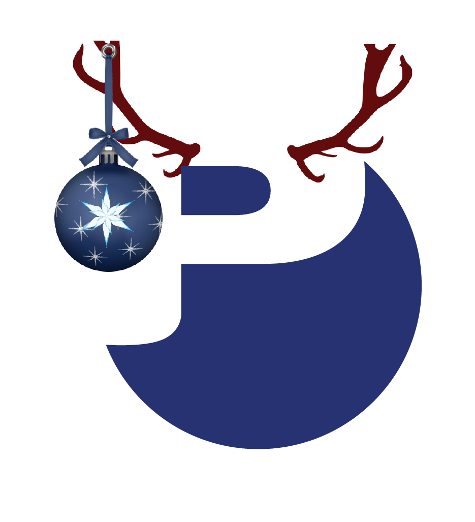 Premier Energy logo with Christmas ornament and antlers